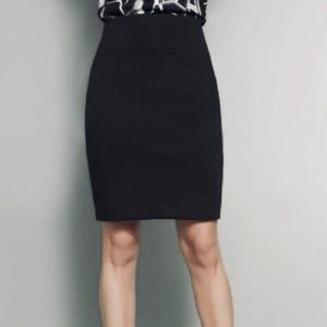 Fitted black high waisted pencil skirt